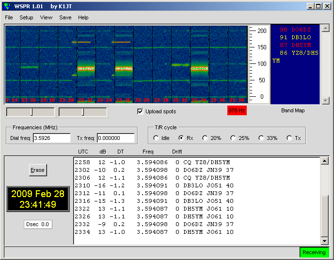 WSPR at 80m in JO61