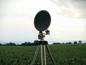 40cm camping dish used for 10GHz. The feed is the W1GHZ duoband feed.