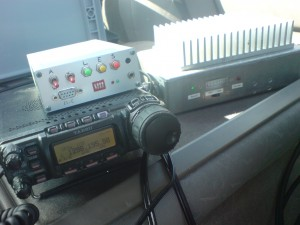 Transverter, FT857D and voice keyer inside the car